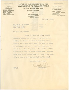 Thumbnail of Letter from Walter F. White to W. E. B. Du Bois