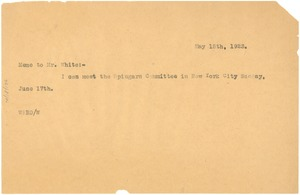Thumbnail of Letter from W. E. B. Du Bois to Walter F. White