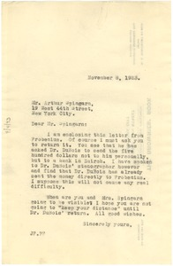 Thumbnail of Letter from Jessie Fauset to Arthur Spingarn