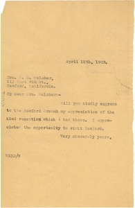 Thumbnail of Letter from W. E. B. Du Bois to E. M. Welcher
