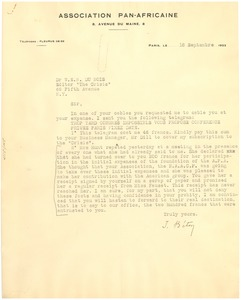 Thumbnail of Letter from Isaac Beton to W. E. B. Du Bois