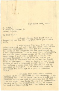 Thumbnail of Letter from W. E. B. Du Bois to Isaac Beton