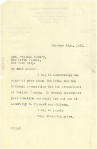 Thumbnail of Letter from W. E. B. Du Bois to Therese Schiff