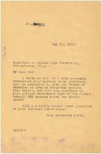 Thumbnail of Letter from W. E. B. Du Bois to president of Wilberforce University