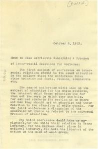 Thumbnail of Memo from W. E. B. Du Bois to Young Women's Christian Association