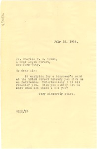 Thumbnail of Letter from W. E. B. Du Bois to Charles F. W. Brown