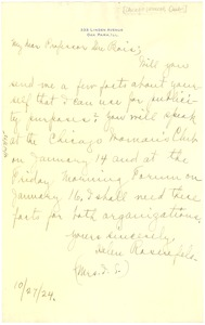 Thumbnail of Letter from Helen Rosenfels to W. E. B. Du Bois