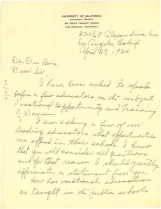 Thumbnail of Letter from Josephine Collier to W. E. B. Du Bois