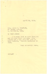 Thumbnail of Letter from W. E. B. Du Bois to Alice D. Crawford