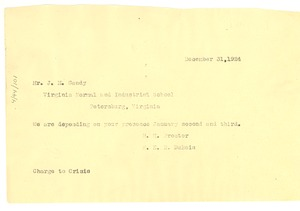 Thumbnail of Telegram from Special Committee of the New York Fisk Clubs to J. M. Gandy