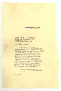 Thumbnail of Letter from W. E. B. Du Bois to Mary Louise Johnson