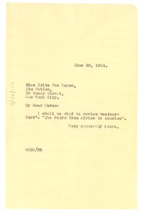 Thumbnail of Letter from W. E. B. Du Bois to The Nation