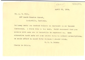 Thumbnail of Telegram from W. E. B. Du Bois to A. G. Dill