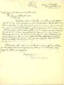 Thumbnail of Letter from Charles E. B. Roberts to James Weldon Johnson