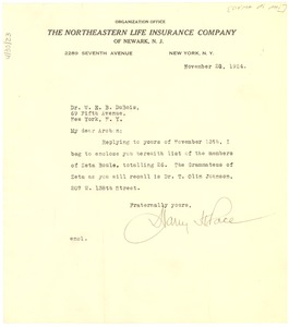 Thumbnail of Letter from Harry H. Pace to W. E. B. Du Bois
