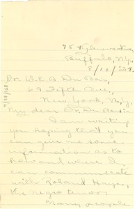 Thumbnail of Letter from P.C. Vincent to W. E. B. Du Bois