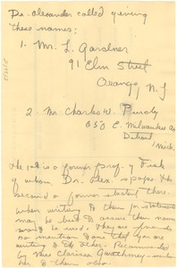 Thumbnail of Message from Ernest Alexander