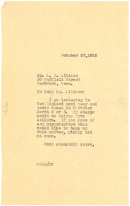 Thumbnail of Letter from W. E. B. Du Bois to Andrew J. Allison