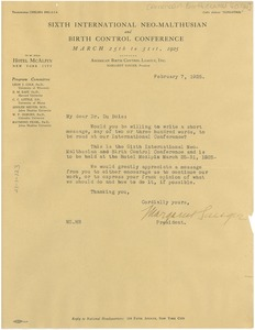 Thumbnail of Letter from International Neo-Malthusian and Birth Control Conference to W. E. B. Du Bois