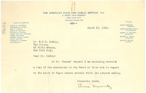 Thumbnail of Letter from American Fund for Public Service to W. E. B. Du Bois