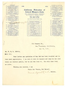 Thumbnail of Letter from California Federation of Colored Women's Clubs to W. E. B. Du Bois