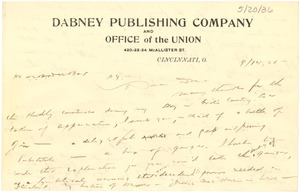 Thumbnail of Letter from William P. Dabney to W. E. B. Du Bois