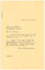 Thumbnail of Letter from W. E. B. Du Bois to William P. Dabney