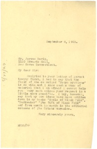 Thumbnail of Letter from W. E. B. Du Bois to Jerome Davis