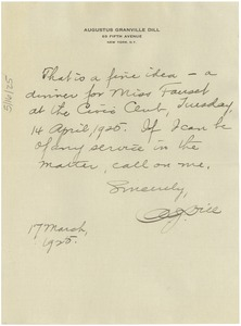 Thumbnail of Letter from Augustus Granville Dill to W. E. B. Du Bois