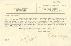 Thumbnail of Letter from George A. Douglas to W. E. B. Du Bois