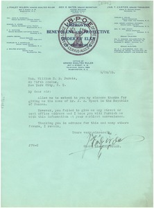 Thumbnail of Letter from J. Finley Wilson to W. E. B. Du Bois