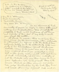 Thumbnail of Letter from Miriam Garrett Hall to F. A. McKenzie