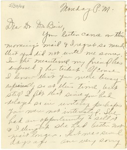 Thumbnail of Letter from Jessie Hathcock to W. E. B. Du Bois