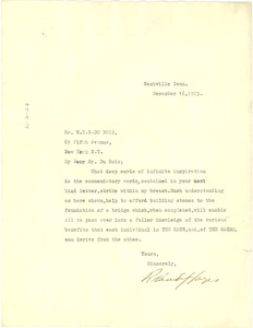 Thumbnail of Letter from Roland Hayes to W. E. B. Du Bois
