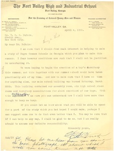 Thumbnail of Letter from Henry A. Hunt to W. E. B. Du Bois