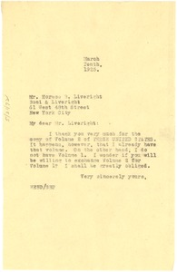 Thumbnail of Letter from W. E. B. Du Bois to Horace B. Liveright