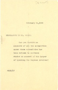 Thumbnail of Memorandum from W. E. B. Du Bois to Mr. White with regard to the Denver             conference