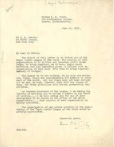 Thumbnail of Letter from Negro Poetic League to W. E. B. Du Bois