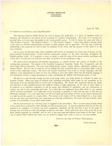 Thumbnail of Circular letter from Upton Sinclair to Friends of the Radical and Labor Movement