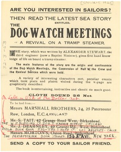 Thumbnail of Advertisement for The dog watch meetings; or a Revival on a tramp steamer