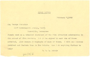 Thumbnail of Letter from W. E. B. Du Bois to George Streator