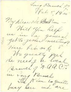 Thumbnail of Letter from Emma C. Thompson to W. E. B. Du Bois