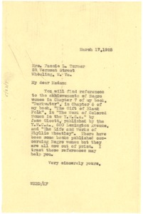 Thumbnail of Letter from W. E. B. Du Bois to Fannie L. Turner