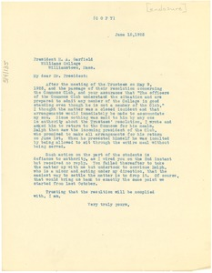 Thumbnail of Letter from John. R. Wright to Harry A. Garfield