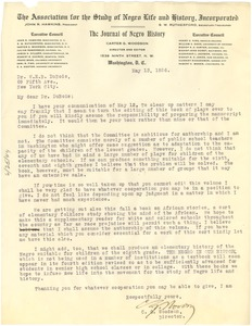 Thumbnail of Letter from Carter G. Woodson to W. E. B. Du Bois