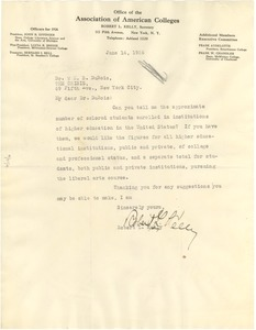 Thumbnail of Letter from Association of American Colleges to W. E. B. Du Bois