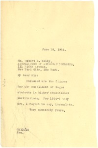 Thumbnail of Letter from W. E. B. Du Bois to Association of American Colleges