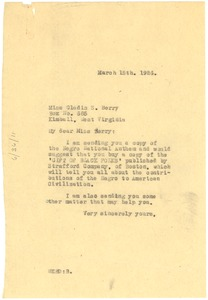 Thumbnail of Letter from W. E. B. Du Bois to Gladis S. Berry
