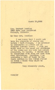 Thumbnail of Letter from W. E. B. Du Bois to Mary Hastings Bradley