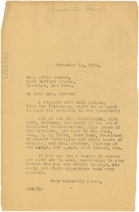 Thumbnail of Letter from W. E. B. Du Bois to Addie Hunton